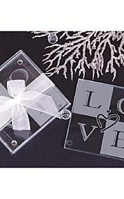 Heart-Shaped Glass Coasters(set of 2) Wedding Favors