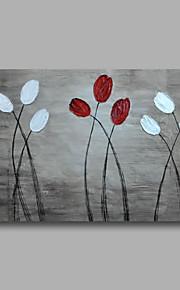 """赤い花灰色のキャンバスの壁アート抽象重油に36 """"X24""""をペイント延伸手描き油をハングアップする準備ができて"""
