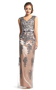TS Couture® Formal Evening Dress Sheath / Column V-neck Floor-length Lace / Tulle with Lace