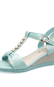Women's Shoes Leather Wedge Heel Wedges Sandals Office & Career / Dress / Casual Blue / Pink / White