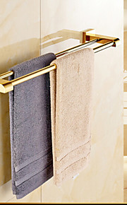 Gold-plated Brass Material Double Towel Bar