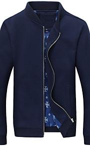 אחיד עומד פשוטה יום יומי\קז'ואל / מידות גדולות ז'קט גברים,כחול / שחור שרוול ארוך סתיו / חורף בינוני (מדיום) כותנה / פוליאסטר