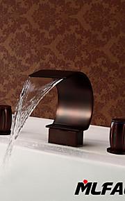 데크 마운티드 두 핸들 세 개의 구멍 in 오일바른 브론즈 욕조 수전 / 욕실 싱크 수도꼭지