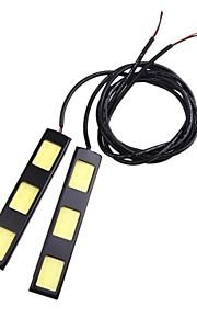 2stk 9cm 6w cob 3 førte bil kørelys bar DRL fjernlyslygte (DC12V)