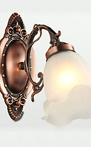 25*22CM Retro Glass Simple European Modern Elegance, Wrought Iron Wall Lamp LED Light