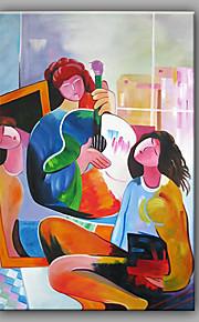 HANDMÅLAD Människor Vertikal,Moderna En panel Kanvas Hang målad oljemålning For Hem-dekoration