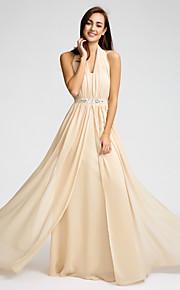 Lan TingFloor-length Chiffon Bridesmaid Dress - Champagne Sheath/Column Halter