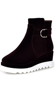 Women's Shoes Leatherette Wedge Heel Platform / Fashion Boots Boots Dress / Casual Black / Purple / Red