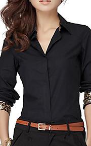 Camicia Da donna Tinta unita A V Manica lunga Cotone / Altro