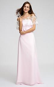 Lan TingFloor-length Chiffon Bridesmaid Dress - Blushing Pink Sheath/Column Strapless