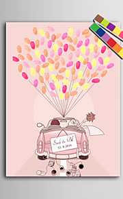 E-HOME® Personalized Fingerprint Painting Canvas Prints - Wedding Car (Includes 12 Ink FColors)