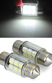 witte koepel 6 SMD LED auto-interieur lamp licht 31mm (2 stuks)