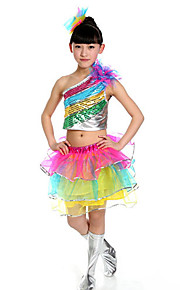 Jazz Outfits Children's Performance Sequined Sequins 2 Pieces Multi-color Jazz Sleeveless Skirt / Top