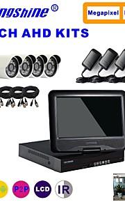 strongshine® ahd kamera med 720p / infrarød / vandtæt og 4-kanals ahd DVR med 10,1 tommer lcd combo kits