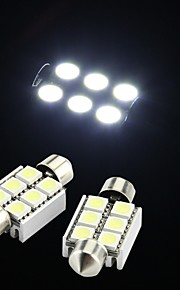 wit 6 smd LED Festoen interieur koepel lamp licht 36mm (2 stuks)