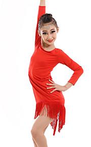 Latin Dance Dresses Children's Performance Spandex / Milk Fiber Tassel(s) 1 Piece DressDress length S(110):63cm / M(120):66cm /