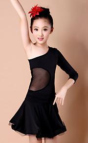 Latin Dance Dresses Children's Performance Spandex / Milk Fiber Draped 1 Piece DressDress length S(110):57cm / M(120):60cm / L(130):63cm