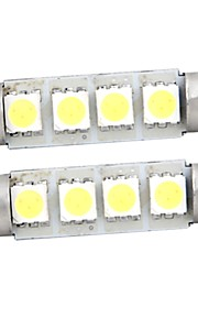 witte 4 smd LED Festoen interieur koepel lamp licht 42mm (2 stuks)