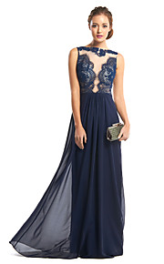 Formal Evening Dress Sheath / Column Bateau Floor-length Chiffon / Lace with Lace