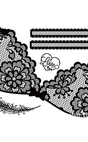 A Piece Of Personality Whimsy The Black Lace Tattoo Stickers A006