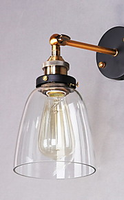 Industrial Edison Simplicity Glass Wall Sconce Metal Base Cap Dining Room / Study Room/Office / Hallway Wall Mount Light
