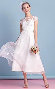 Lanting une ligne robe de mariée - ivoire thé longueur organza bateau