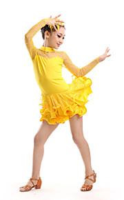 Latin Dance Children's Performance Polyester / Tulle Rhinestones Dresses Dance Costumes