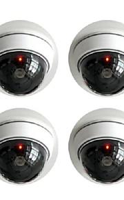 kingneo 2 stuks wit fake dummy dome cctv bewakingscamera met knipperende rode led licht voor huis of kantoor mall