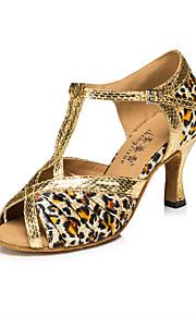 Sapatos de Dança(Amarelo / Leopardo) -Feminino-Personalizável-Latina / Jazz / Salsa / Samba / Sapatos de Swing