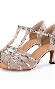 Sapatos de Dança(Preto / Prateado / Dourado) -Feminino-Personalizável-Dança do Ventre / Latina / Jazz / Moderna / Samba / Sapatos de Swing