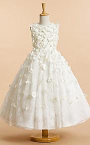Lanting Bride A-vonalú Tea-hossz Virágoslány ruha - Tüll Ujjatlan Ékszer val vel Virág(ok)
