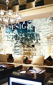 JAMMORY Art Deco Wallpaper Classical Wall Covering,Other Continental Retro Nostalgia Large Mural Wallpaper 3D Letters
