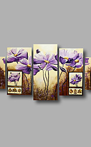 "estirada (listo para colgar) pintura al óleo pintado a mano 60 flores modernas ""x32"" arte de la pared de tela color beige púrpura"