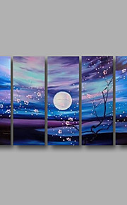 "estirada (listo para colgar) pintura al óleo 60 ""x32"" flores modernas pared de lona de arte flor azul pintado a mano"