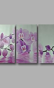 """estirada (listo para colgar) pintura al óleo pintado a mano 48 flores modernas """"x32"""" arte de la pared de la lona orquídea púrpura"""