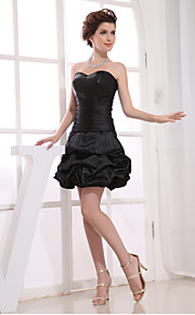 Cocktail Party Dress A-line Strapless Short / Mini Taffeta with Pick Up Skirt / Side Draping
