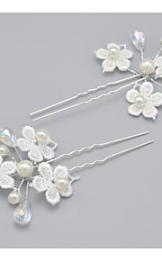 Women's Alloy Headpiece-Wedding / Special Occasion Hair Pin 2 Pieces