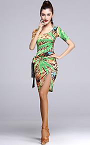 Latin Dance Dresses Women's Performance Viscose Draped 1 Piece Fuchsia / Green / Light Green