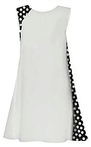 Women's Boho Polka Dot Chiffon Dress,Round Neck Above Knee Polyester