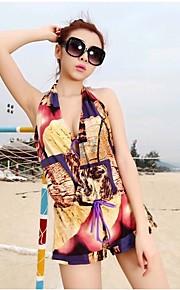 Women's Bandeau Bikinis / Multi-pieces / Cover-Ups,Boho Push-up / Padded Bras Chiffon / Spandex Purple / Green