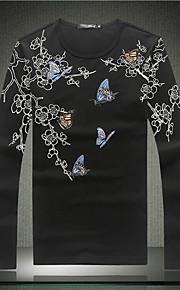 Camiseta De los hombres Casual Estampado-Algodón-Manga Larga