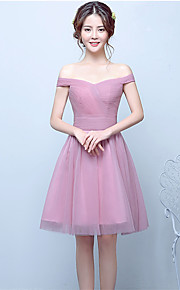 Knee-length Tulle Bridesmaid Dress-Blushing Pink Ball Gown Off-the-shoulder
