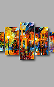 Hand-painted Textured Landscape Oil Paintings Street at Night Palette Picture Stretched Frame