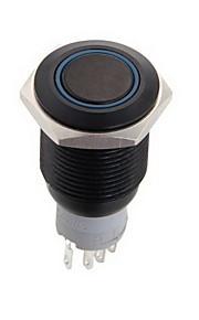 16mm 12v kortstondig aan / uit drukknoppen schakelaar voor auto boot met blauwe led