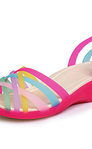 Women's Shoes PU Platform Jelly / Open Toe Sandals Outdoor / Dress / Casual Blue / Yellow / Red