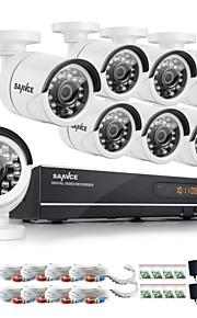 sannce® 8-kanals ahd-720p DVR optager dag nat vejrbestandig hjem sikkerhed kamera system