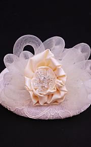 Women's Satin / Lace / Rhinestone / Flax Headpiece-Wedding / Special Occasion / Casual / Outdoor Fascinators 1 Piece