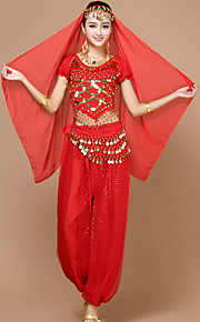 Belly Dance Outfits Women's Performance Chiffon Sequins 4 Pieces Blue / Fuchsia / Purple / Red / Yellow