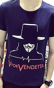 Camiseta De los hombres Casual Estampado / Letra-Algodón-Manga Corta