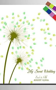 E-HOME® Personalized Fingerprint Painting Canvas Prints -Green Dandelion (Includes 12 Ink FColors)